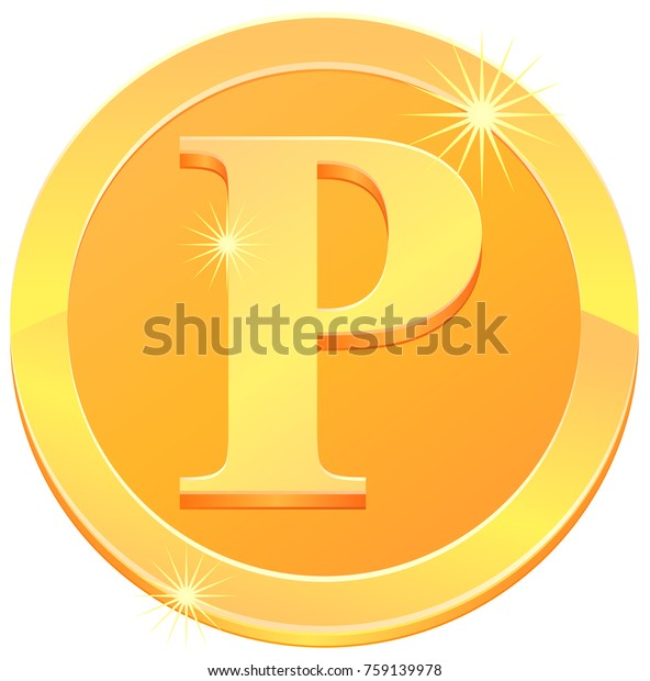 Gold coin with letter P design vector image