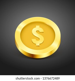 Gold coin. Money isolated on a black background. Vector illustration.