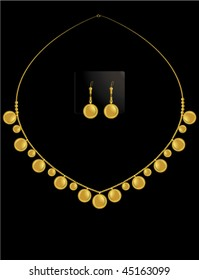 gold coin necklace set 1 - vector version