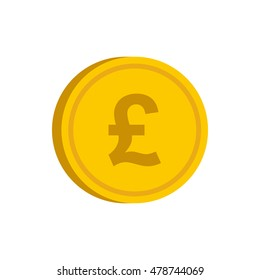 Gold coin with pound sign icon in flat style on a white background vector illustration