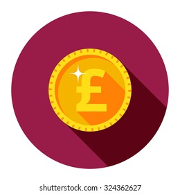 Gold coin pound. Vector illustration of coins in flat style. Icon One British pound. Symbol of money.