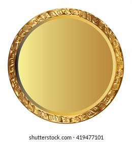Gold coin with repousse frame.