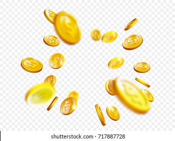 Gold coin splash background. Vector 3d realistic golden dollar coins explosion illustration for game, casino, winner or jackot concept advertising template.