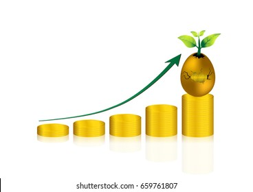 gold coin stack graph and cracked golden egg; return on investment and growth
