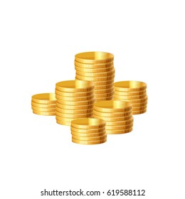 Gold coin stack. Vector