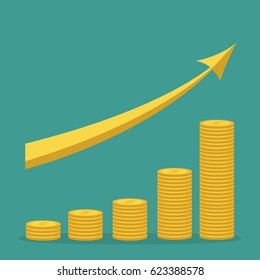 Gold coin stacks icon in shape of diagram. Golden up arrow. Dollar sign symbol. Cash money. Going up graph. Income and profits. Growing business concept. Green background. Isolated. Flat design Vector