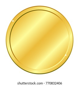 Gold coin. Vector illustration isolated on white background. Editable elements and glare. Casino game. Rich EPS 10