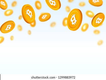 Gold coins bitcoin falling down vector illustration. Cryptocurrency gold chips on white background.