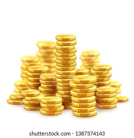 Gold coins cash money in piles, Isolated on white transparent background. Eps10 vector illustration.