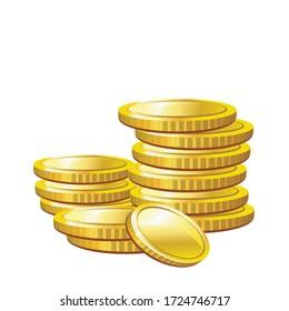 Gold coins cash money vector Illustration