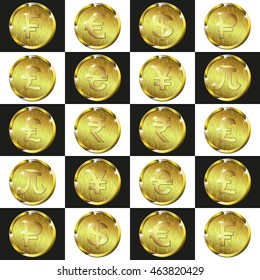 gold coins currency signs