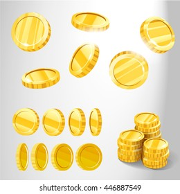 Gold coins from different angles for games and patterns, photo realistic vector illustration in 3D style, isolated on white background