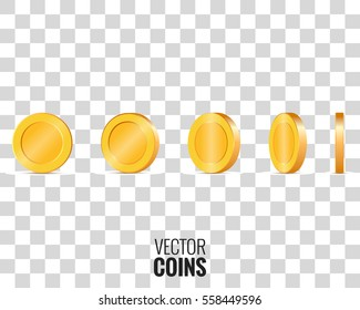 Gold coins in different shapes for animation. Vector coins on transparent background