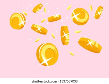Gold coins falling down concept illustration in flat style, treasure of gold wealth with bright sparkles, coins scatter in different directions