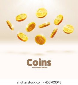 gold coins falling down isolated on white in different positions
