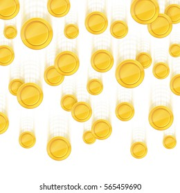 Gold coins falling down. Vector illustration isolated on white background.