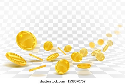 Gold coins falling strew on a white background.