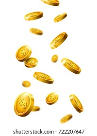Gold coins falling. Vector isolated money coins treasure. Isolated banking currency.
