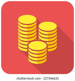 Gold coins icon (flat design with long shadows)