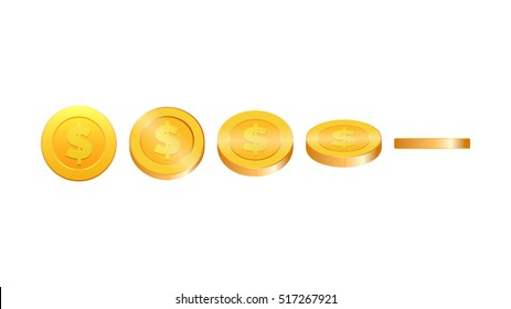 Gold coins illustration. Coins in five different shapes. Cartoon coins ready for animation