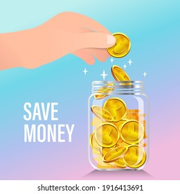 Gold coins into clear bottle. Accumulate and save your money dollar in jar. Flat vector illustration