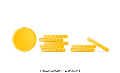 Gold coins isolated on a white background. Stack of gold coins in a cartoon style game. Game icons. Vector.