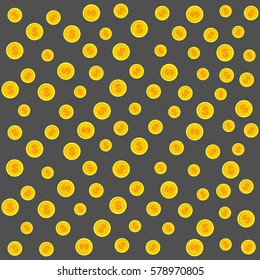 Gold coins pattern. Vector Illustration on a gray background.