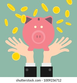 Gold coins piggy bank.