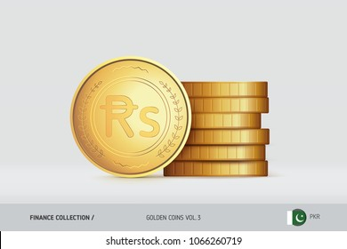 Gold coins. Realistic Pakistani Rupee coin standing near of stacked coins. Finance concept for websites, web design, mobile app, infographics.