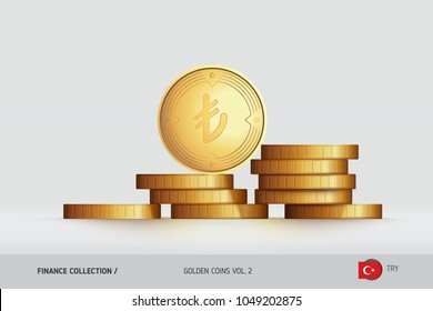 Gold coins. Realistic Turkish Lira coin standing on stacked coins. Finance concept for websites, web design, mobile app, infographics.