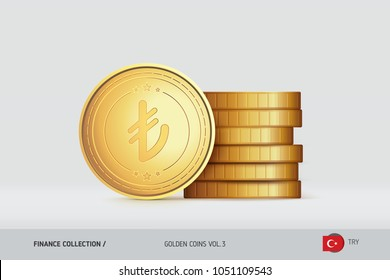 Gold coins. Realistic Turkish Lira coin standing near of stacked coins. Finance concept for websites, web design, mobile app, infographics.