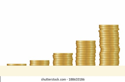 Gold coins. Stack