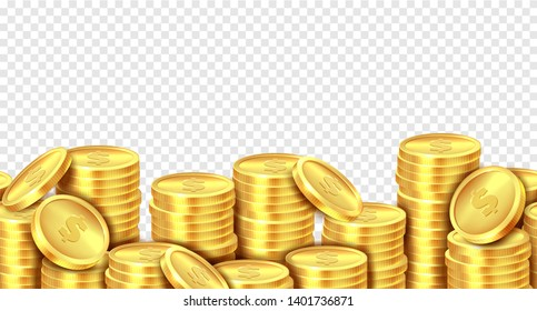 Gold coins stack. Realistic golden coin money pile, stacked dollar lots pile cash bonus profits casino market banner. Vector isolated