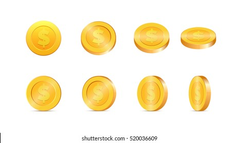 Gold coins vector illustration. Gold coins in different shapes.
