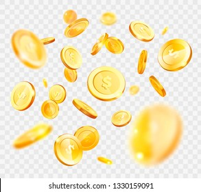 Gold coins vector, money falling down, American currency isolated on transparent background, finances and assets, wealth and richness, big capital