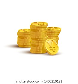 Gold coins with yen sign flat vector illustration. Savings, investment symbol. Currency of Japan, JPY, foreign money. Financial growth concept. Stack of golden coins isolated on white background