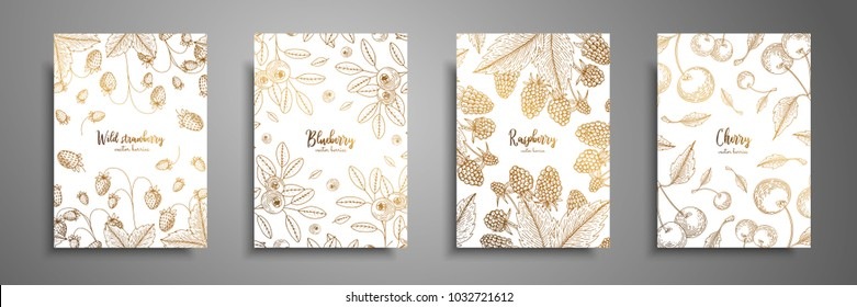 Gold collection of cards design with berries. Vintage gold frame with ripe berries illustrations - raspberry, cherry, blueberry, wild strawberry. Great design for natural and organic products