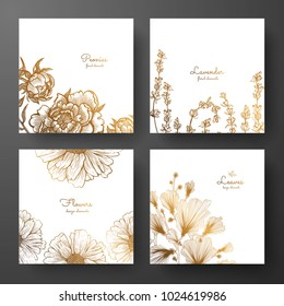 Gold collection of cards design with peonies, lavender, chamomile and leaves of ginkgo biloba. Template frame for birthday and greeting card, wedding invitation, flyer, package design