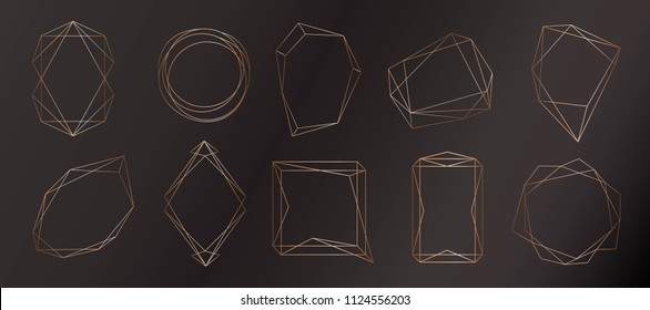 Gold collection of geometric frame. Decorative element for logo, branding, card, invitation. Luxury,  art deco style for wedding invitation.