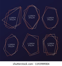 Gold collection of geometrical polyhedron, art deco style for wedding invitation party, luxury elegant templates, decorative patterns, Modern abstract elements, vector illustration