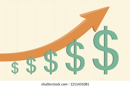 gold color 3d uptrend line arrows go up with dollar sign in flat icon design on yellow color background