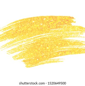 Gold color acrylic hand drawn vector stroke banner, wallpaper, background. Colorful paper texture shine glitter oil abstract illustration, art design. Watercolor bright vivid drip tag, print, card