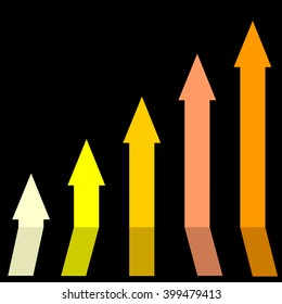 Gold color of graph rising up, indicating positive vibes and direction in business aspects.Growing bars graphic icon