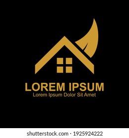 Gold color Home Logo Design Template.