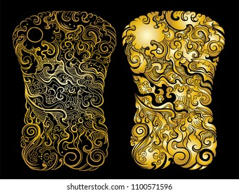 gold color Line Thai tattoo design.traditional thailand style,cloud and fire tattoo.Line Thai water wave design for tattoo.Japanese wave for tattoo background.