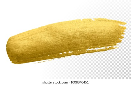 Gold color paint brush banner. Vector abstract golden smear stroke stain on transparent background. Shine detailed gold glittering textured wet paint stroke for party invitation card design template