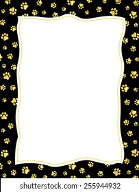 Gold color paw prints on black background page border / frame with empty white space