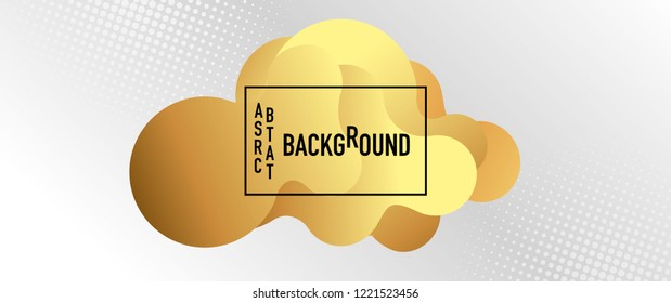 Gold colored fluid liquid shape, light grey  background with white halftone, black frame and space for text, vector illustration. Abstract geometric design.