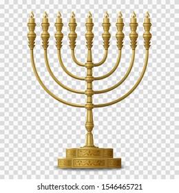 Gold colored Hanukkah menorah, nine-branched candelabrum