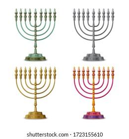 Gold colored, multicolored and silver Hanukkah menorah, nine-branched candelabrum. Vector illustration.